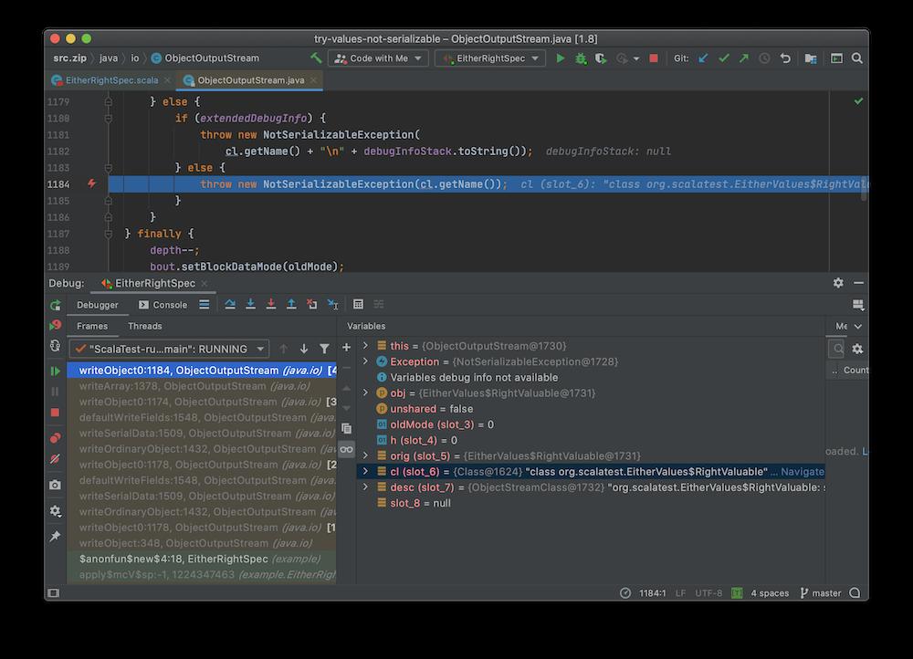 capture d'écran d'IntelliJ IDEA en mode debug sur l'exception NotSerializedException