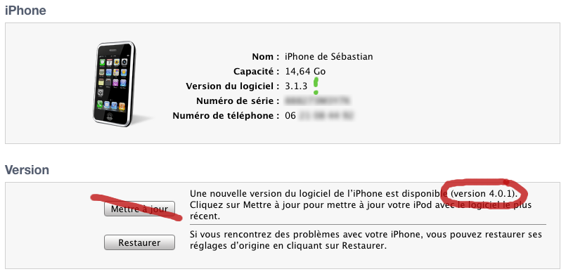 capture d'écran de iTunes montrant le numéro de version de l'iPhone